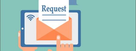 "Envelope with ""Request"" letter"